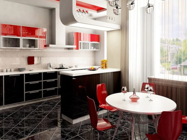 дизайн оформления кухни плиткой
