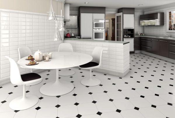 плитка для напольного покрытия на кухне