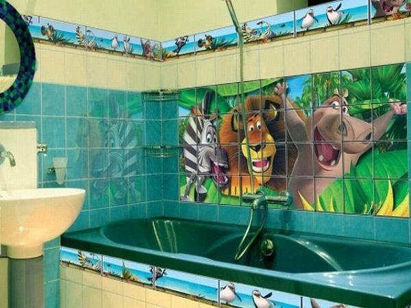 Плитка в ванную с изображением мультипликационных героев