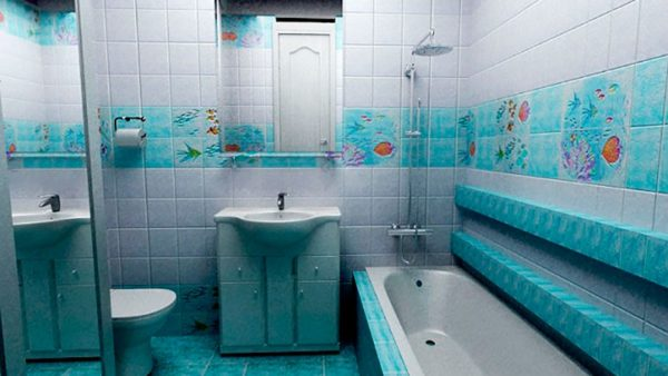 Плитка в ванной комнате с морским рисунком