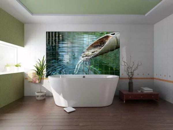Декоративная настенная 3д плитка в ванной комнате