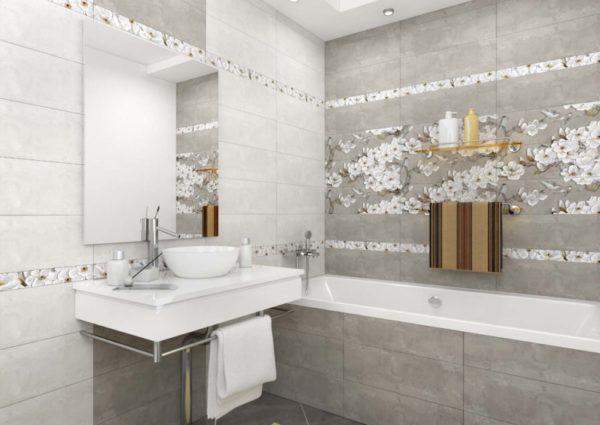 Современная настенная керамическая плитка в интерьере ванной комнаты