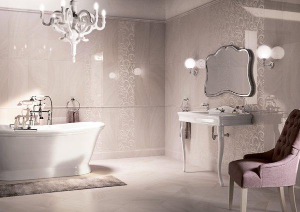 Керамогранитная облицовочная плитка в ванной комнате