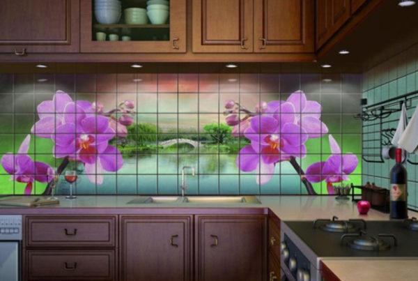 Фотоплитка на кухонном фартуке