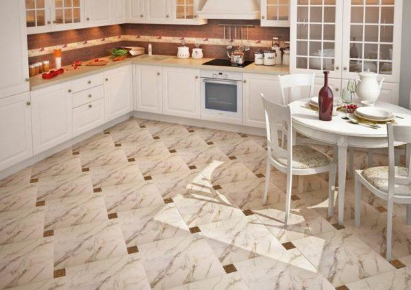 Кафельный пол в интерьере кухни