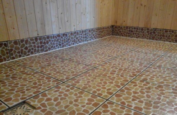 Кафельный пол в бане