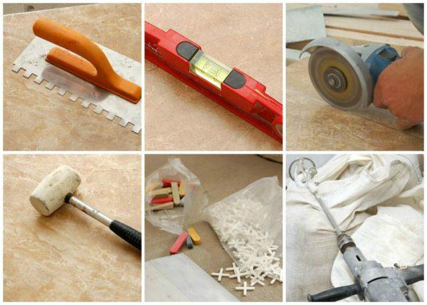 Необходимый инструмент для укладки плитки на деревянный пол
