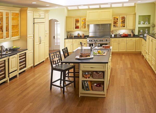 ламинат для напольного покрытия на кухне