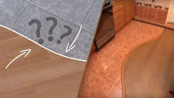 плитка на линолеум на кухне в комбинации разделения помещения