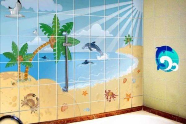 Крашенная стенка в ванной