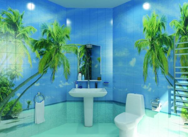 Интересный рисунок 3д плитки, гармонирующий с дизайном ванной комнаты
