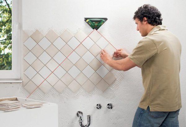 Монтаж плитки по диагонали