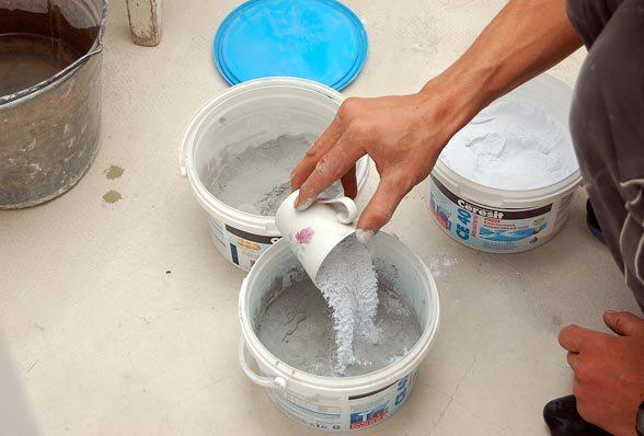 Приготовление затирки из сухой смеси