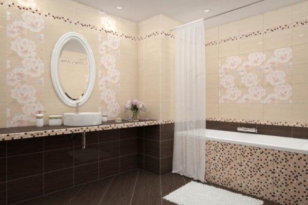 Гармоничное сочетание цветов керамической плитки в ванной комнате