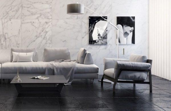 Настенная квадратная керамическая плитка в гостинной
