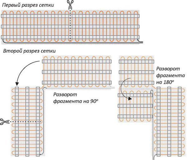 Схема укладки нагревательных матов