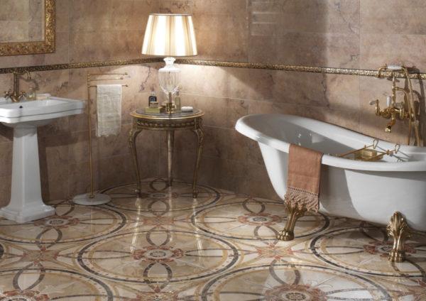 Керамогранит на полу в ванной комнате