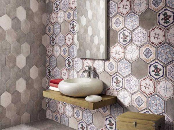 Шестигранная настенная керамическая плитка в стиле пэчворк