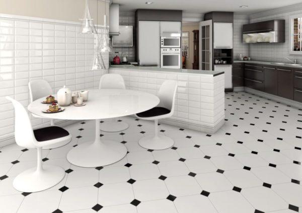 Дизайн плитки на кухонном полу