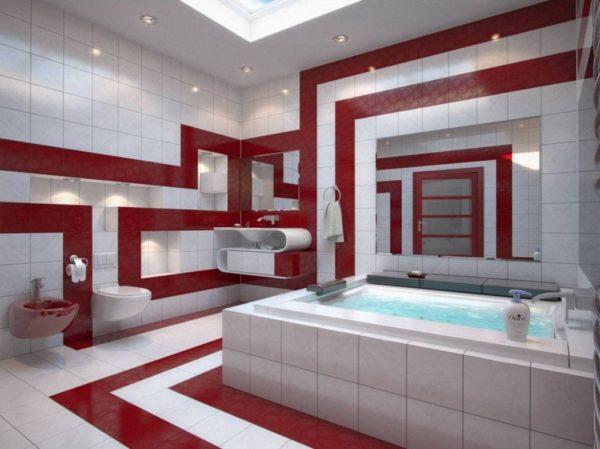Ванная комната в красно-белом цвете
